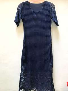 Long Brukat Navy Dress