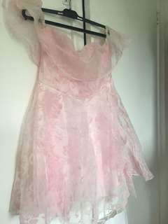 Pink Off the Shoulder Lace Dress