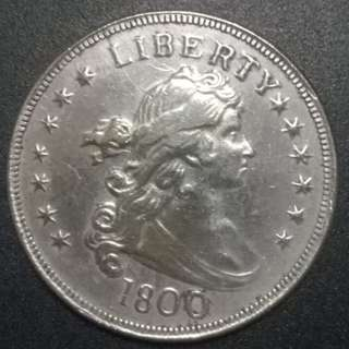 United States of America Bust Liberty 1800 silver coin 37.5mm 25.4gm