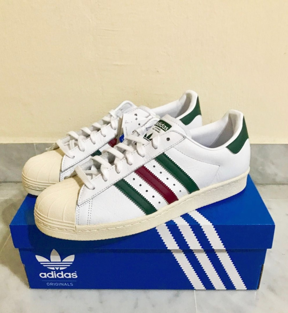 Adidas Superstar 80s green red stripes us9. 5 8382e6ccc