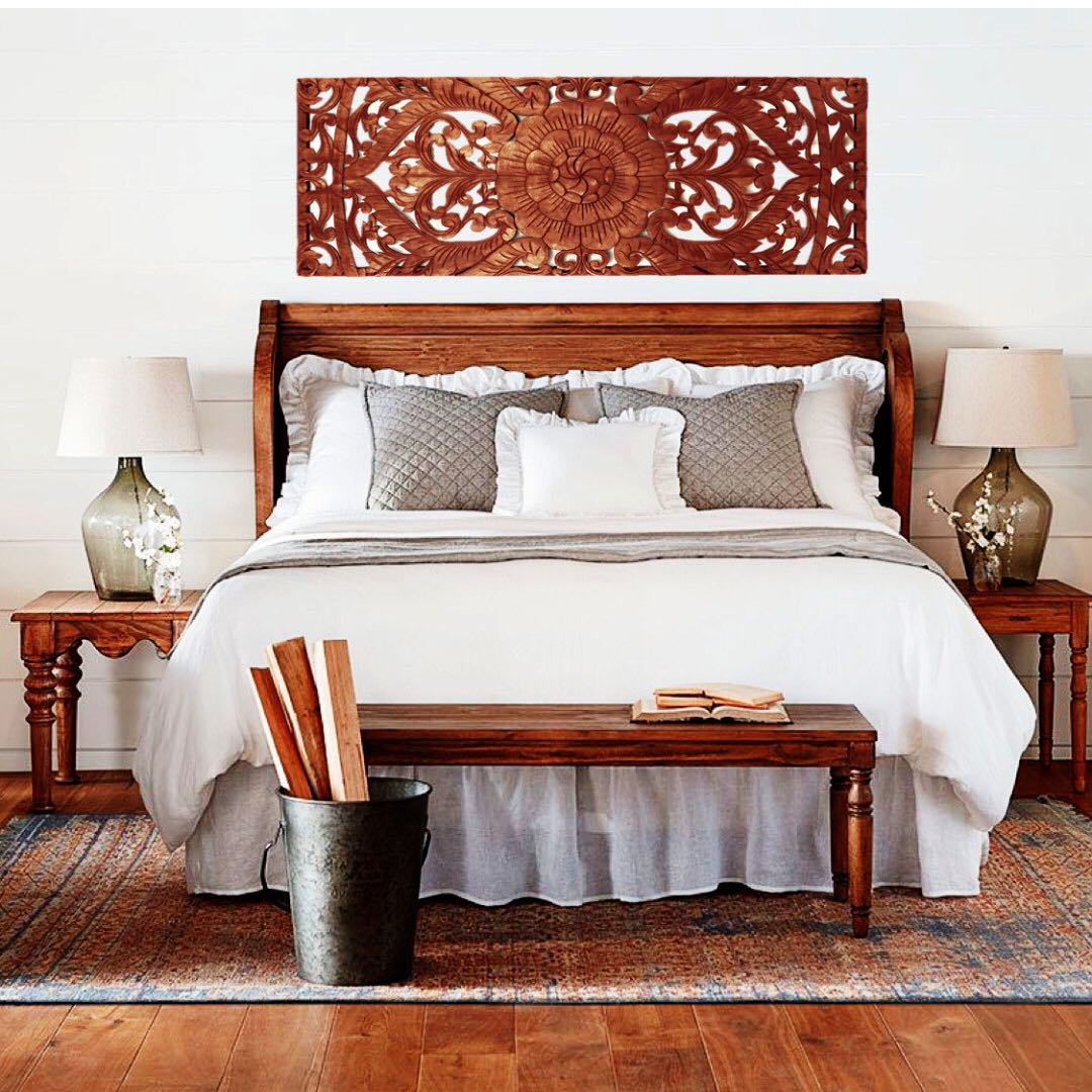 Balinese Wood Carving Bed Headboard Wall Decor 150 Cm