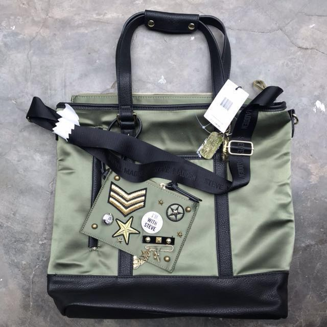 4be7b12373 BNWT Authentic Steve Madden Olive Baria, Women's Fashion, Bags ...
