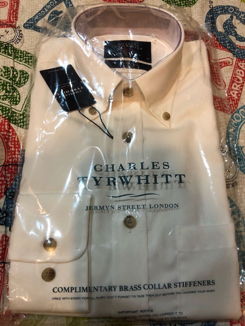 995b6369 Charles tyrwhitt off-white shirt, Men's Fashion, Clothes, Tops on Carousell