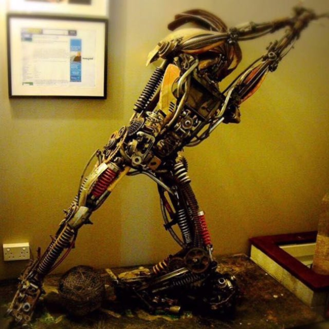 Metal Art Sculpture Man U Fans It S Barthez In Metal Motorbike