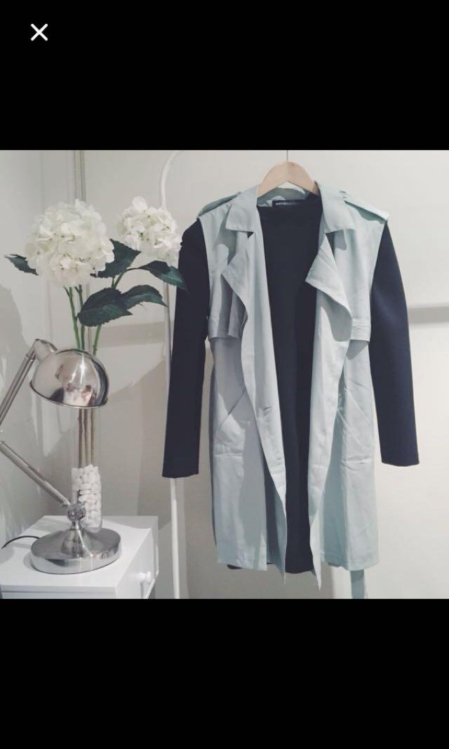 Mint green trench vest