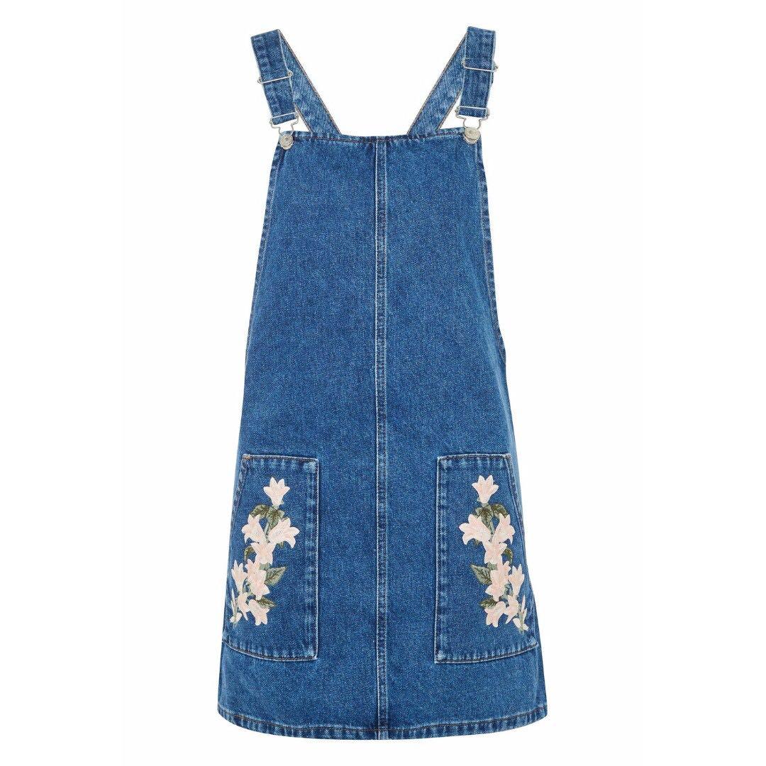 e30efd4be70b Topshop MOTO Tulip Embroidered Pinafore Dress, Women's Fashion ...