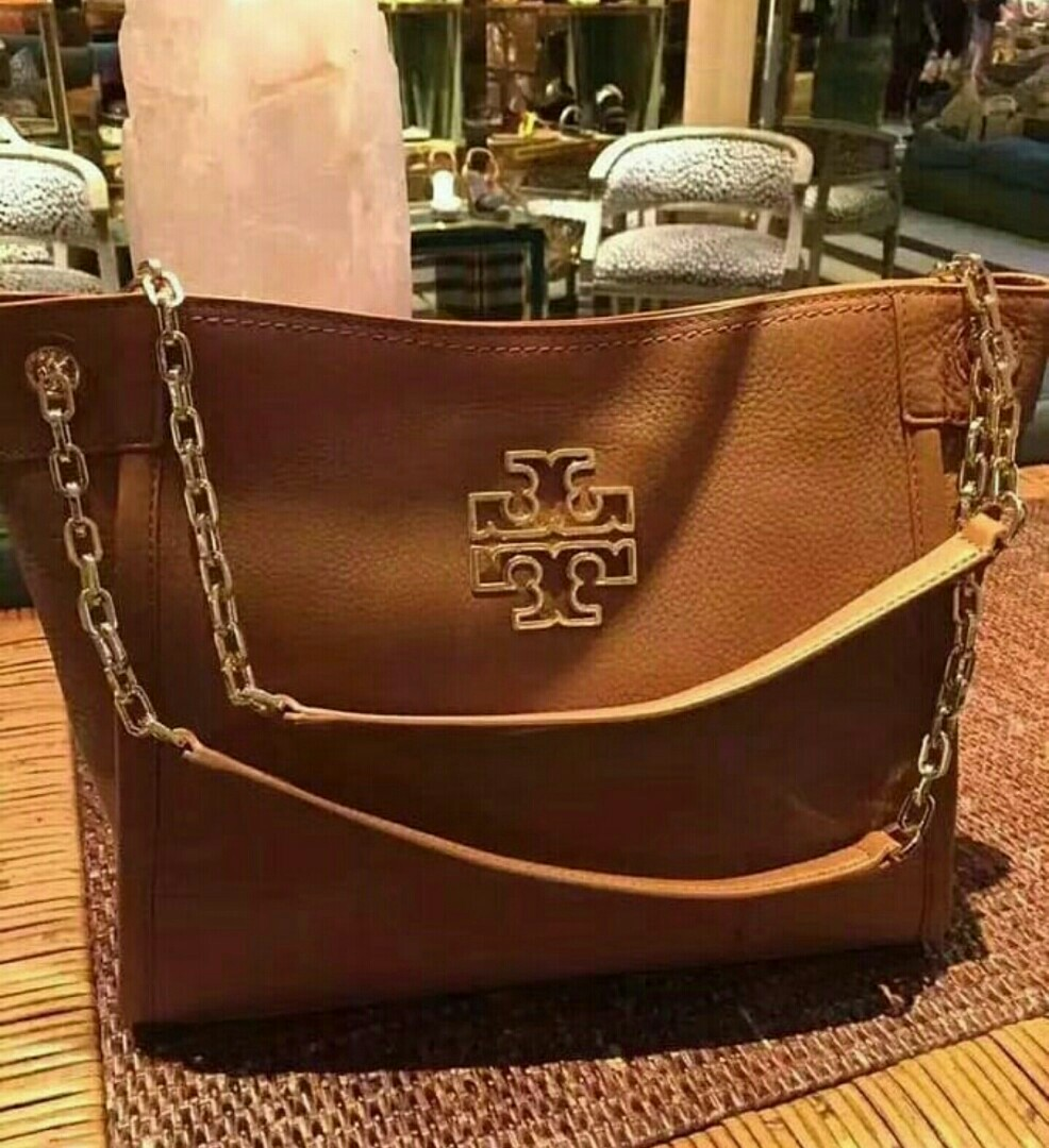 143336880803 Tory Burch Britten Small Slouchy Tote in Bark