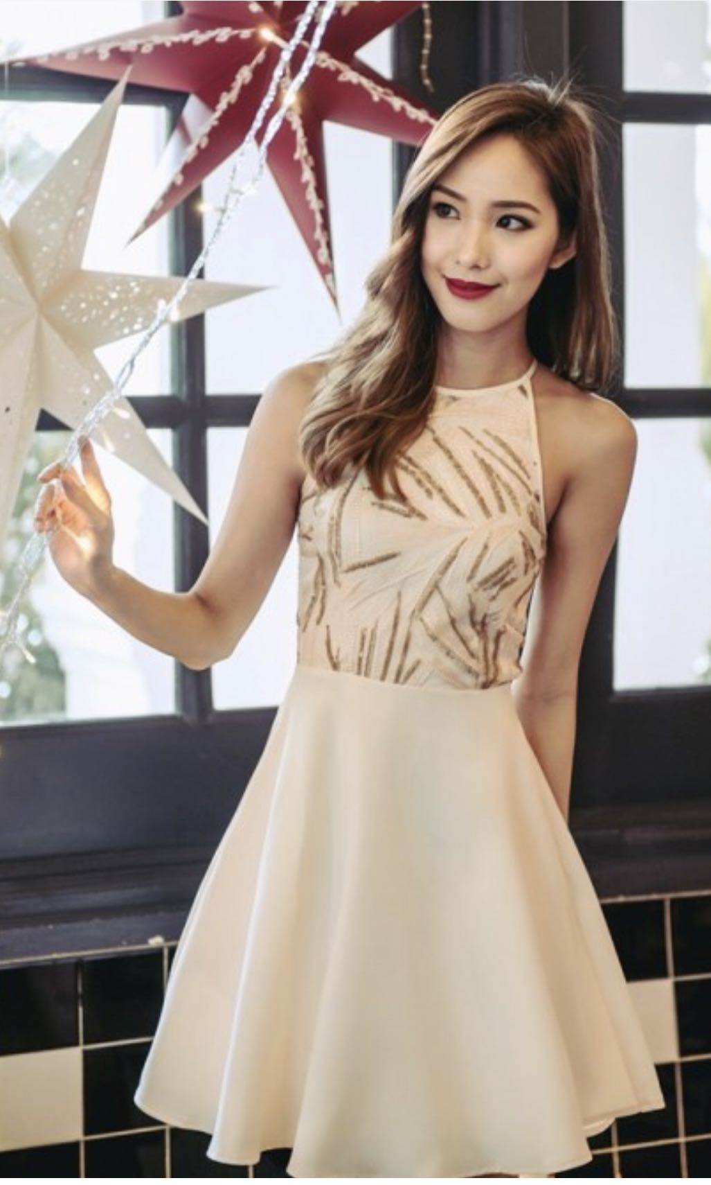 51a0f5e7b75 You Are A Firework Sequin Skater Dress (Champagne Gold)