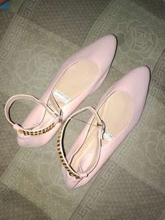 Pink doll shoes with strap never been used #BGCSWAP