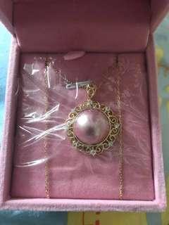海水馬貝珍珠925銀鍍金頸鏈