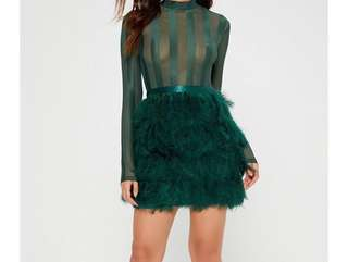 Emerald Green Feather Bodycon Dress size 4