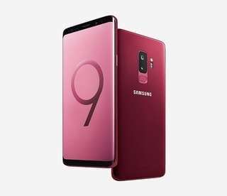 🚚 Samsung S9+ 128GB Burgundy Red + Fast Wireless Charger