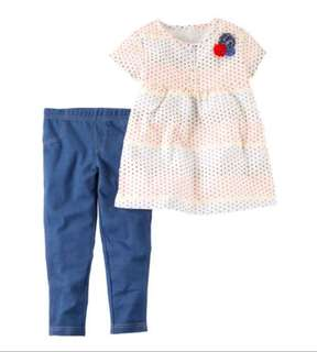 🚚 *24M* BN Carter's 2-Piece Babydoll Top & Denim Legging Set For Baby Girl #CarouPay