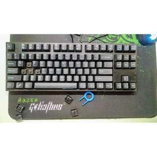 ( 附測試影片) 87鍵 黑色 MX Cherry black 黑軸 電競 無燈 機械鍵盤 ABS Keyboard 包私保2天