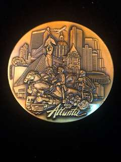 "1986 Atlanta City Large Table Medal by K.Mager. Edge Inscription ""Anheuser Mktg. Atlanta. GA"""