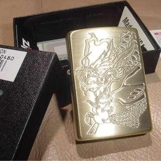 日本版ZiPPO打火機 JZ39570 金龍 - Anique Brass -