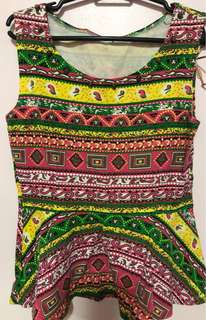 Aztec Peplum Top