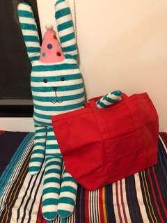 Marimekko 鮮紅色帆布購物袋 tote bag