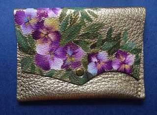 Handmade, handsewn, hand painted genuine leather purse