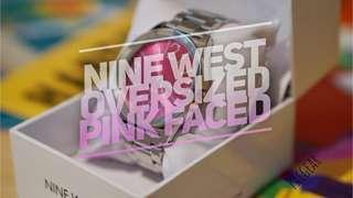 Nine West Oversized 42mm Women's Watch Pink in Silver Casing