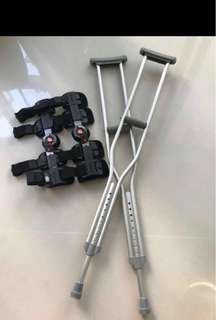 Crutches and Knee brace
