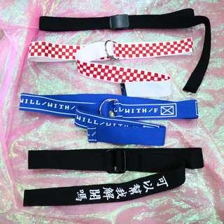 鐵片/棋盤格/英文/中文造型中性帆布皮帶