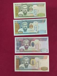 Mongolia 4 pcs 500 1000 5000 and  10000 tugrik set