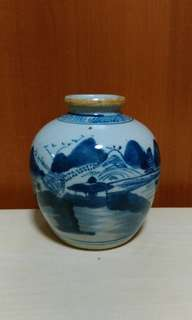 Late Qing Blue n White Small Jar.