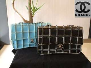 Vintage Chanel黑色/湖水藍牛皮粗線方格銀扣classic flap bag 25x16x7cm