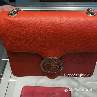 🔶SALE🔶Gucci GG Interlocking Leather Bag  Size S (Authentic)