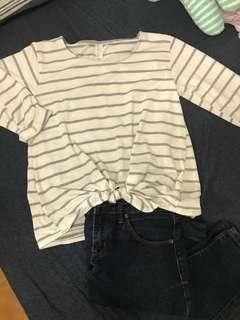🚚 灰白條紋七分袖綁結上衣 + forever21深藍色牛仔長褲