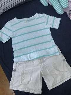 🚚 湖水綠條紋短T + 白色刷破牛仔短褲