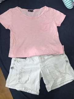 🚚 粉橘色素T + 刷破牛仔短褲