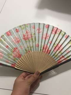 Elegant Floral Fan with Holder