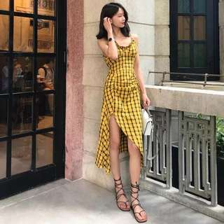Mustard Checkered Thigh Slit Dress