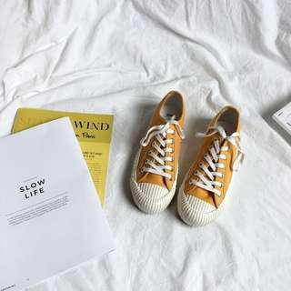 🚚 (全新免運)韓版學院風百搭復古餅乾鞋帆布鞋平底鞋懶人鞋