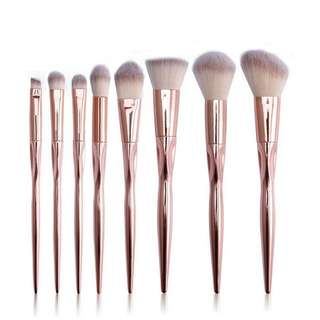 Rose Gold Makeup Brush Set 8pcs