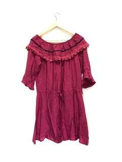 🚚 酒紅色民俗風平口洋裝