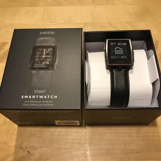 Pebble Steel Black Smart Watch
