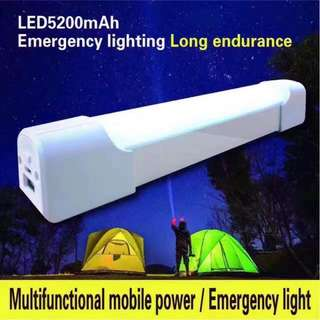 Led light 5200mah Mobile powerbank with energy-saving lamp