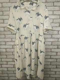 韓版 個性 滿版 法鬥 雪紡洋裝 #女裝半價拉
