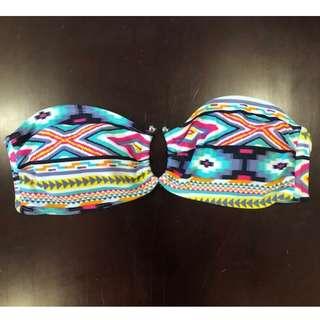 Aztec print bandeau bikini top