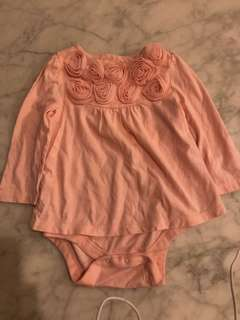 Baby Gap Pink Rosette Bodysuit - size 12 to 18 months