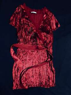 🍷Crushed Silk Wine Cross-over Blouse with Bow + Side Zip