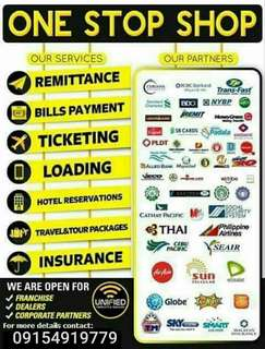 FRANCHISE YOUR OWN BAYAD CENTER, AIRLINE TICKETING, CEBUANA, WESTERN UNION, LOADING AND OTHERS