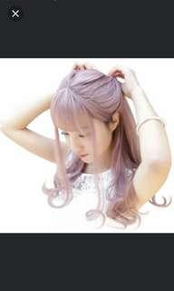 INSTOCK Beautiful Hair wigs with bang ash purple pink
