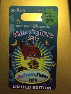 Pin Trading Nights 2018 Logo Pin  Nick Zootopia 迪士尼 徽章 Disney Pin