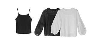 🚚 透膚條紋拼接網紗上衣+細肩背心兩件式套裝 白色