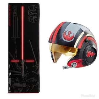 Black Series Poe Dameron Helmet & Kylo Ren Lightsaber