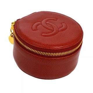 Auth CHANEL red jewelry case pouch